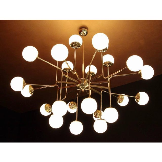 1920s Exceptional Huge Brass Chandelier with Glass Globes in the Manner of Stilnovo For Sale - Image 5 of 5