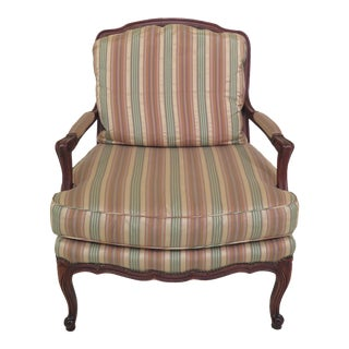 1990s Vintage Baker French Louis XV Style Open Arm Chair For Sale
