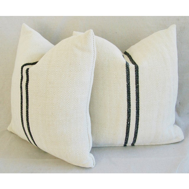 French Grain Sack Down & Feather Pillows - Pair - Image 9 of 10