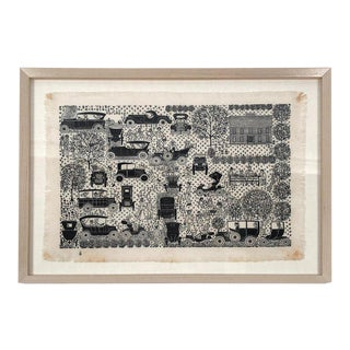 Folly Cove Designers Hand Block Print With Antique Automobiles For Sale