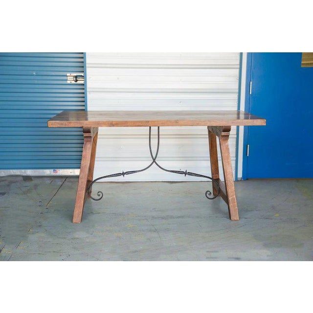 Spanish Beech Farm Table Iron Stretcher 19th C. For Sale - Image 6 of 11
