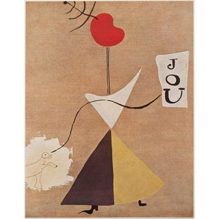 "1940s Joan Miró ""Woman, Journal, Dog"" Original Period Swiss Lithograph For Sale"