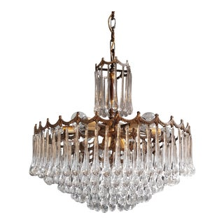 Murano Glass Modern Crystal Chandelier Antique Ceiling Lamp Lustre Brass, 1950s For Sale