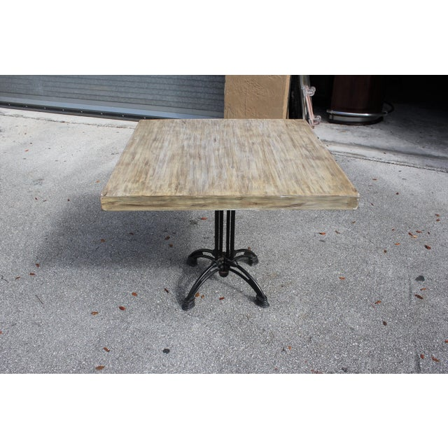 1920s French Country Cast Iron Base Walnut Top Dining / Bistro Table For Sale In Miami - Image 6 of 13