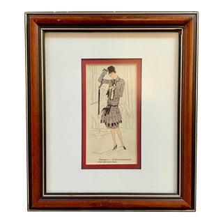 Vintage Art Deco Framed French Fashion Pochoir Print For Sale