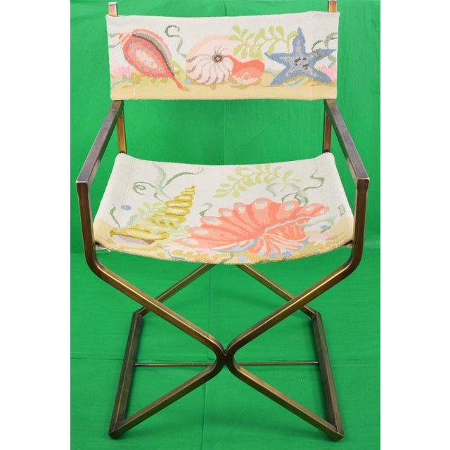 A seashell needlepoint director's chair w/ brass legs!~
