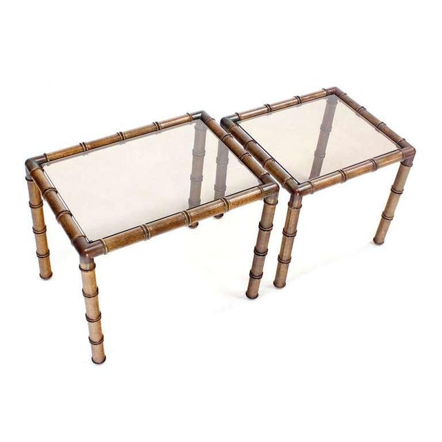 Mid Century Modern Faux Bamboo Nesting Stacking End Tables- a Pair For Sale - Image 4 of 10