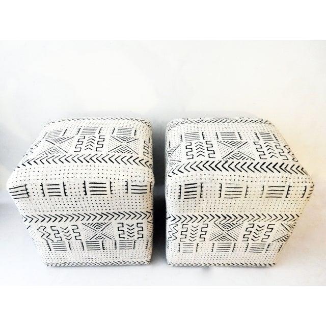 Black & White Mud Cloth Stools - Pair - Image 7 of 9