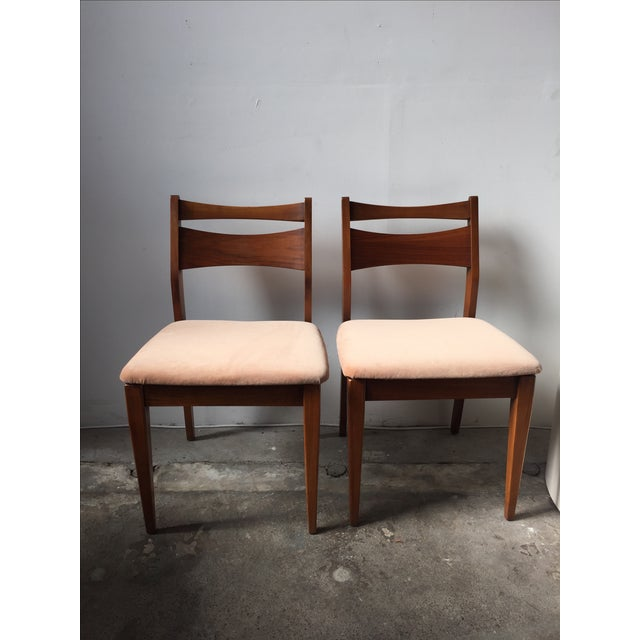 Mid-Century Velvet & Walnut Dining Chairs - Set of 4 - Image 2 of 10