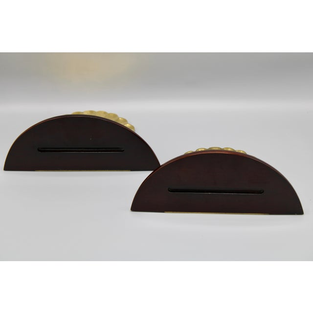 Brass Coastal Wood and Brass Clam Shell Wall Shelves - a Pair For Sale - Image 8 of 13
