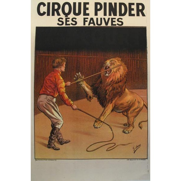 1900s Vintage French Circus Poster - Cirque Pinder - Lion Tamer - G. Soury For Sale - Image 4 of 4
