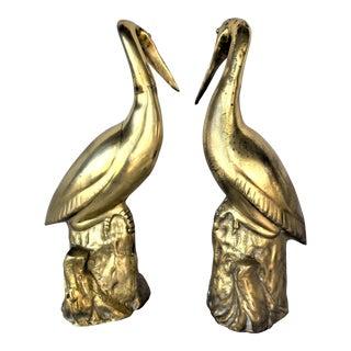 Vintage Brass Pelican Figures - a Set of 2 For Sale