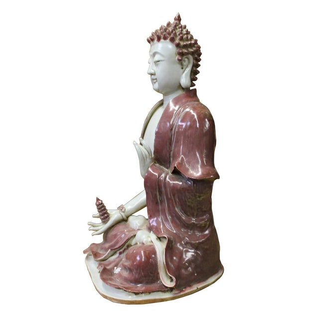 Vintage Chinese Red Glaze Porcelain Sitting Buddha with Tower Statue For Sale In San Francisco - Image 6 of 7