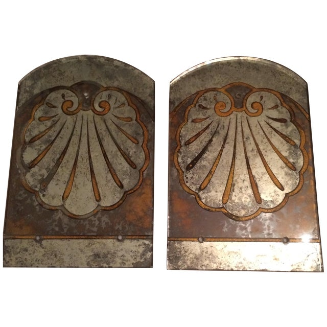 Antique Mirror Sconce Panels - Pair - Image 1 of 8