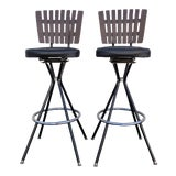 Image of Mid-Century Modern Swivel Bar Stools- A Pair For Sale