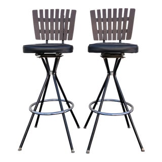 Mid-Century Modern Swivel Bar Stools- A Pair