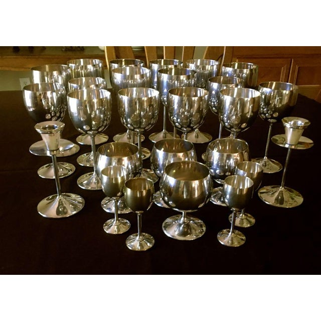 Spanish Vintage Spanish Silver Plated Stemware Candlesticks - 26 Pieces For Sale - Image 3 of 9