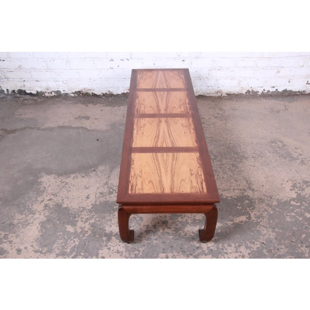 Michael Taylor for Baker Chinoiserie Rosewood and Walnut Coffee Table, Newly Restored For Sale - Image 10 of 12
