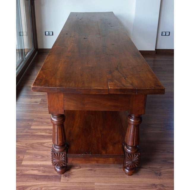 Late 19th Century Large 19th Century Spanish Refectory Walnut Farm Draper´s Table or Console For Sale - Image 5 of 10