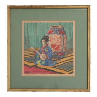 "1920s Martin Erich Phillips ""Stilleben Mit Japan Figur"" Color Woodblock Print For Sale"