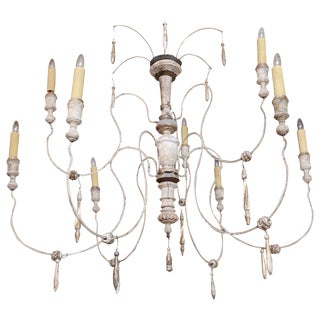 French Nine-Arm Wood and Iron Chandelier
