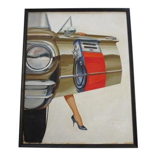 Incredible Realism Painting Classic Car Gas Pump Sexy Vintage Original 1950's For Sale