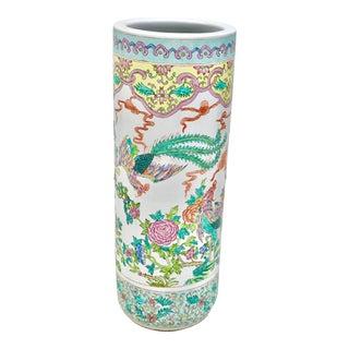 1980s Oriental Ceramic Umbrella Stand For Sale