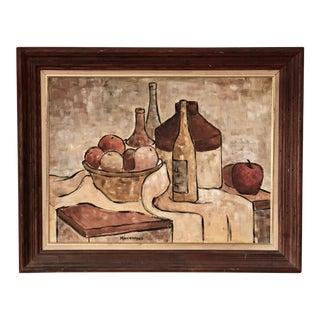 1950s Still Life Oil Painting, Framed For Sale