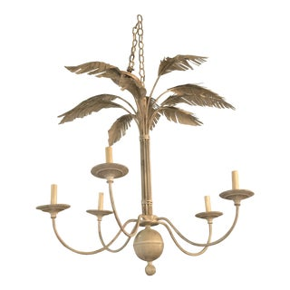 Vintage Hollywood Regency Tan Tole Metal Palm Tree Leaf Chandelier For Sale
