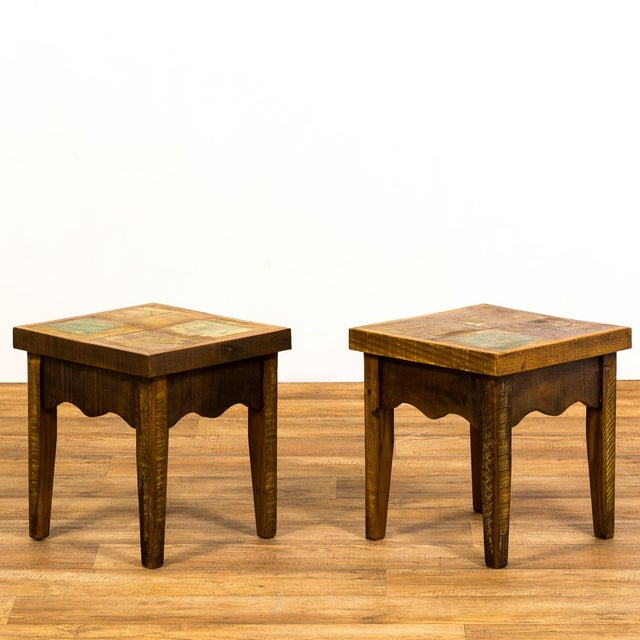 This pair of vintage stools would also make a fun and unique pair of small side tables. Handmade, eco-friendly and built...