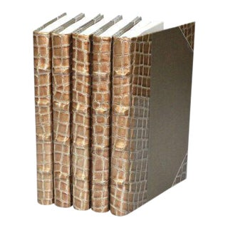 Exotic Collection Croc II Copper Books - Set of 5 For Sale