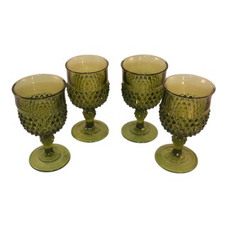 Vintage Homco Indiana Glass Green Diamond Wine Goblets - Set of 4 For Sale