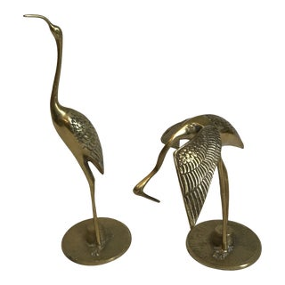 Brass Crane Wading Bird Statues - a Pair For Sale