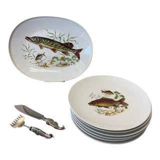 Vintage Porcelain Fish Plate Set With Stainless Server - 9 Piece Set For Sale