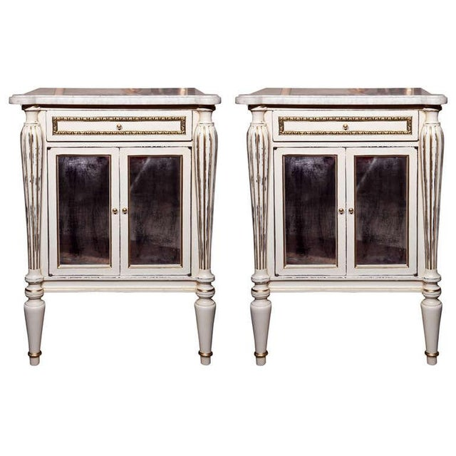 White Painted Marble-Top Cabinets by Jansen - Pair For Sale