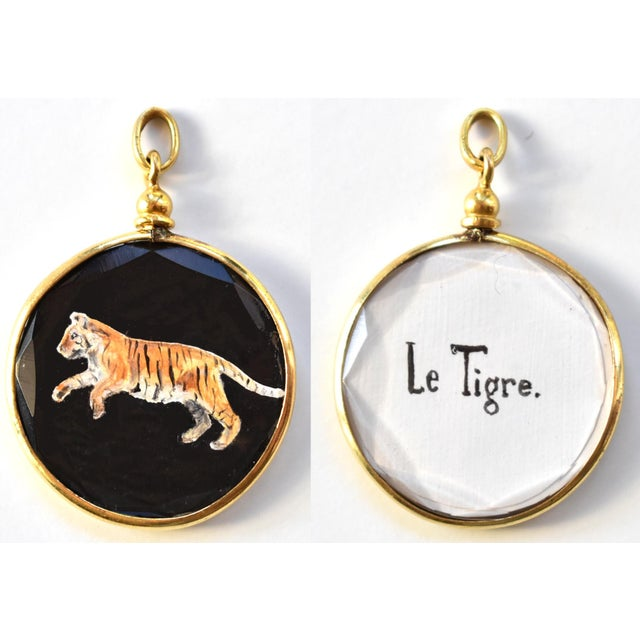 2010s Contemporary Miniature Tiger Painting by S. Carson in an Antique French Pendant Locket- Double Sided For Sale - Image 5 of 5