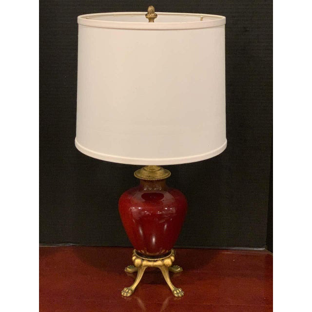 Asian Sang De Boeuf, Ormolu Mounted Vase, by Rookwood 1936, Now as a Lamp, Light Glaze For Sale - Image 3 of 7
