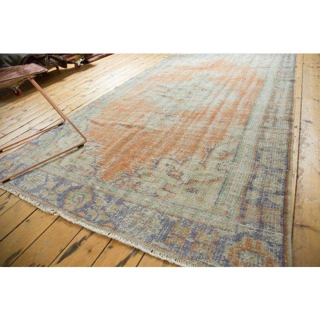 "Vintage Distressed Oushak Carpet - 5'2"" x 8'8"" For Sale - Image 4 of 11"