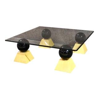 Postmodern Glass Top Coffee Table For Sale