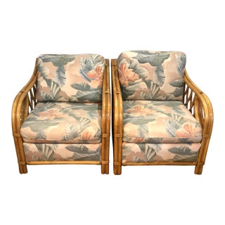 Palm Beach Rattan/Bamboo Club Chairs in the Manner of Ficks Reed - a Pair For Sale