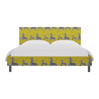 California King Tailored Platform Bed in Yellow Zebra By Scalamandre For Sale