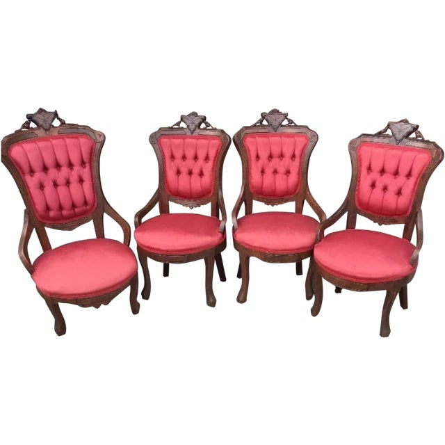 Victorian Eastlake Parlor Chairs - Set of 4 - Image 1 of 6