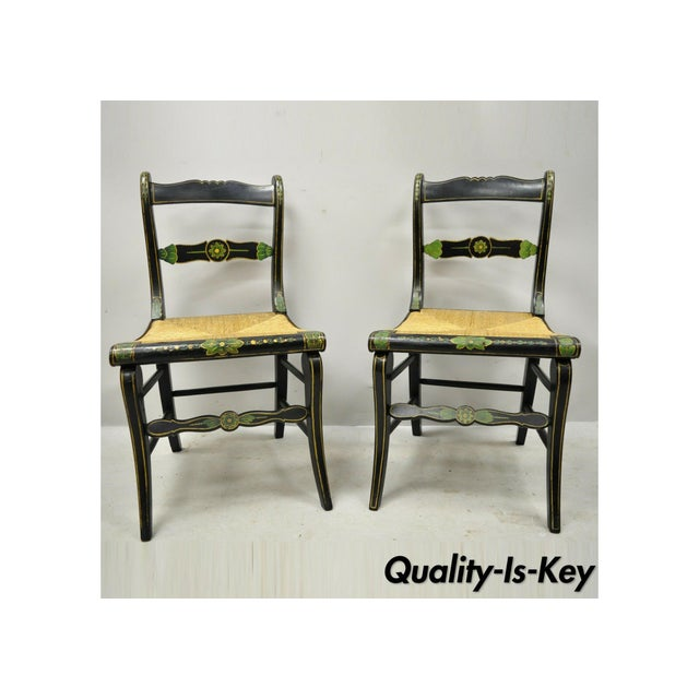19th Century Antique Hitchcock Style Black Hand Painted Rush Seat Side Chairs - a Pair For Sale - Image 12 of 12