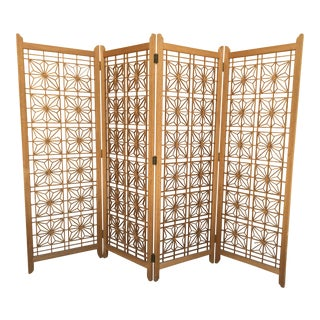 Mid-Century Modern Teak Folding Screen/ Room Divider For Sale