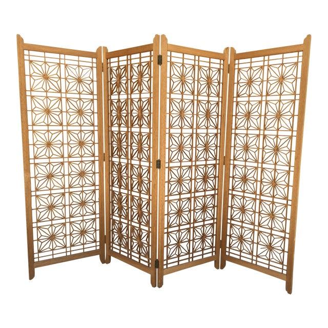 Mid-Century Modern Teak Folding Screen/ Room Divider For Sale