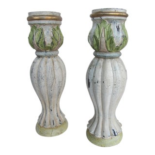 Vintage Distressed Wood Candle Holders - a Pair For Sale