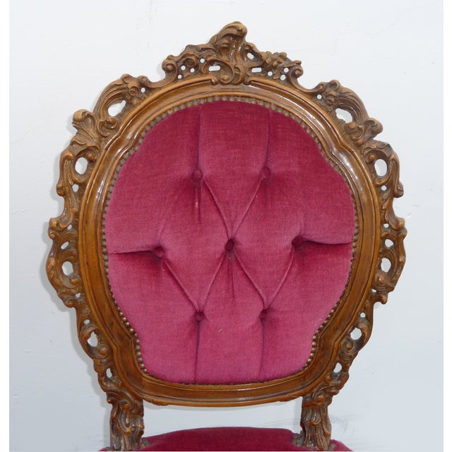 Ornate French Carved Tufted Back Chairs - Pair - Image 7 of 11