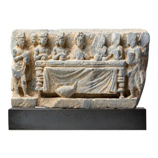 Gandharan Schist Lintel Depicting the Division of the Buddha's Relics For Sale