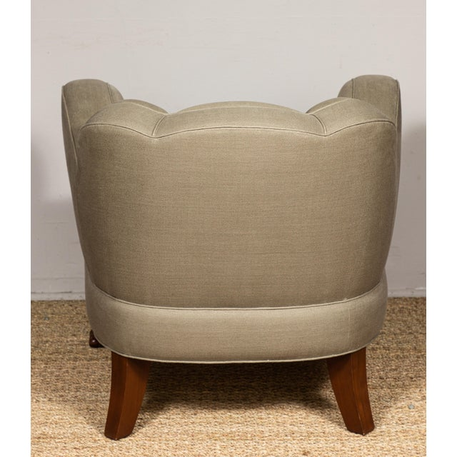 Wood Pat McGann Linen Upholstered Bear-Claw Chair For Sale - Image 7 of 8