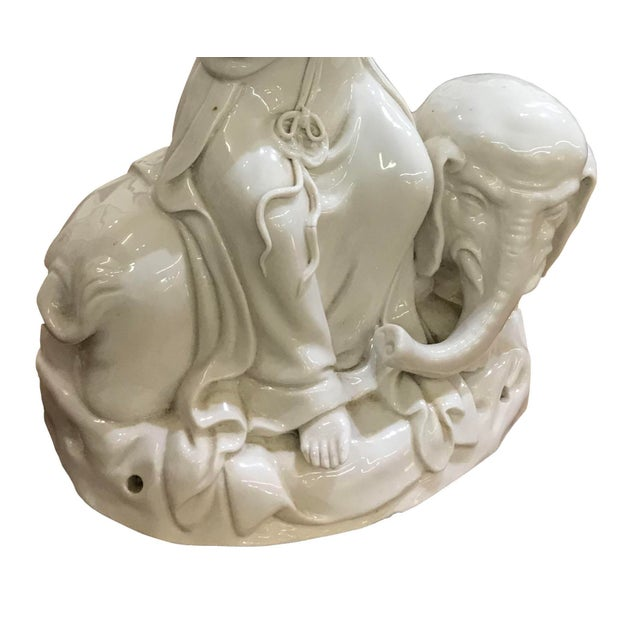 Mid 20th Century Chinese Blanc De Chine Figure on Elephant For Sale - Image 4 of 5